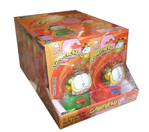 Garfield Candy - Garfield Bubble Gum Dispenser, 12 Count, Red-Green