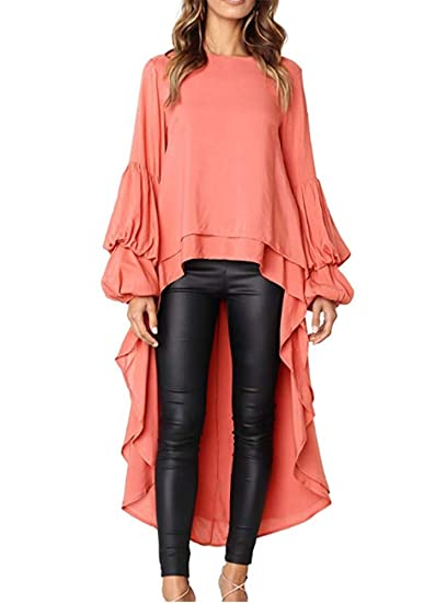 c8aad2c8a5e6 TINHAO Woman's Long Ruffle Sleeve Round Neck High Low Casual Long Maxi  Tunic Tops(Orange