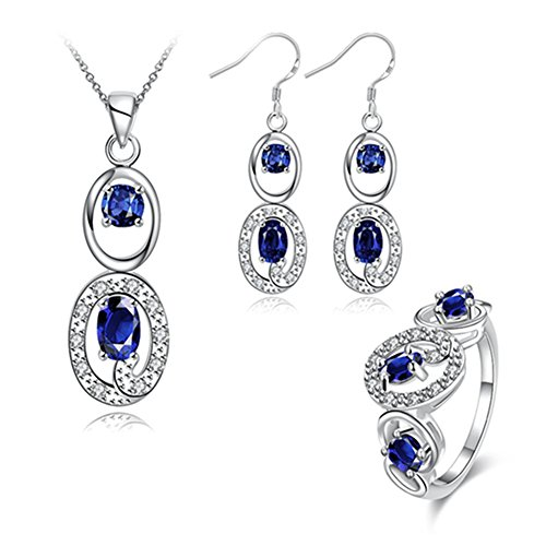 Les Miserables Costumes Ideas (Double Oval Jewelry Set Blue Cubic Zircon Necklace Earrings Rings Silver Plated Fashionable for Womens)