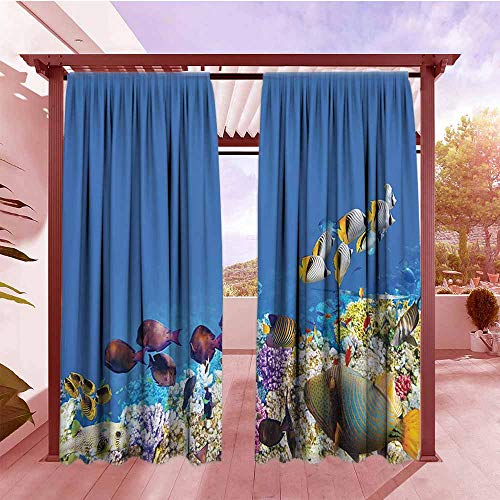 Outdoor Blackout Curtains Ocean Decor Collection Multicolored Fish Schools Swimming Between Submerged Ancient Coral Reefs Nature Marine World Print Hang with Rod Pocket/Clips W96x84L Blue Yellow Lila (Lila Ray)