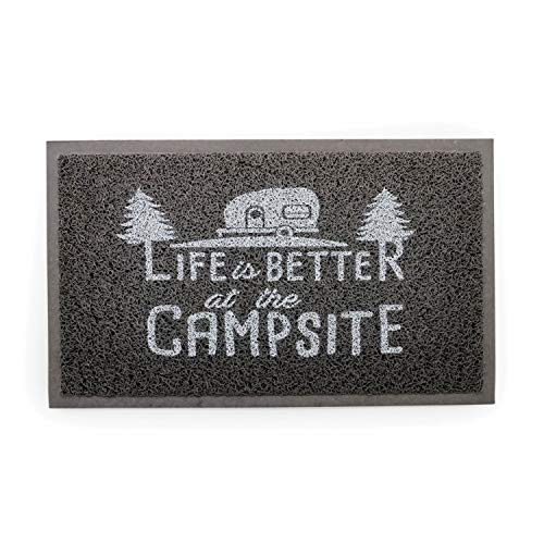 Camco 53200 Life Is Better at The Campsite Outdoor/Indoor Welcome Mat - Weather and Mildew Resistant, Traps Dirt and Liquid, Spongey Comfortable Feel (Gray)