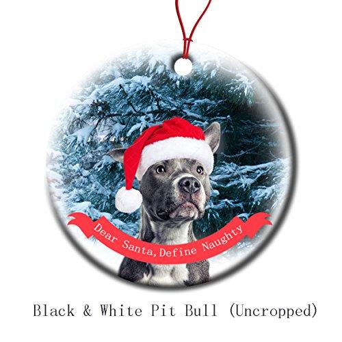 Xmas Ornaments Ceramic Flat Round Snowflakes Santa Dog Black & White Pit Bull Uncropped Ears Custom Tree Branch Hanging Decoration for Holiday Season