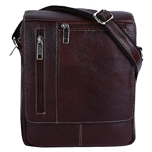 (HiLEDER 100% Pure Genuine Leather 8 Inches Sling Travel Tablet Office Bag, Dark Brown)