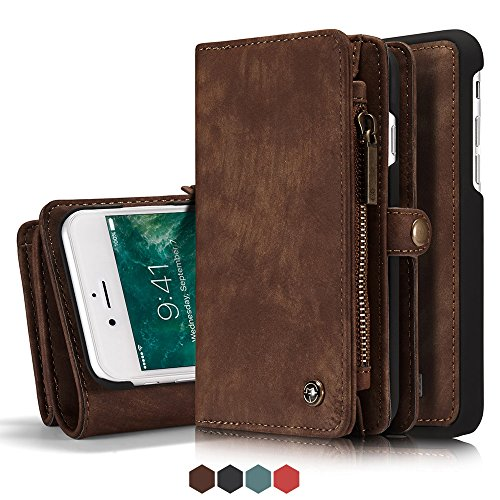 Price comparison product image Iphone 8 Plus Leather Wallet Magnetic Phone Case Detachable Protective Case with Card Holder Folio Flip Cover,  Brown