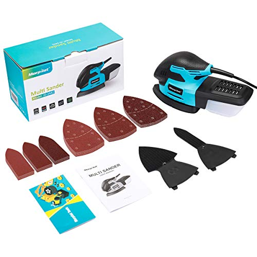 morpilot Detail Palm Corner Mouse Hand Sander Sanding Tool 220w, 13000 RPM Sander with dust Collector, 20 Pieces of Sandpaper, Suction for Sanding Wood