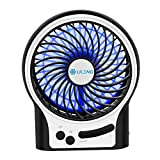 VersionTech Portable Rechargeable Fan, Cooling Electric USB Fan for Desk Table Car Office Bedroom (3 Speeds, with LED Light -Black)