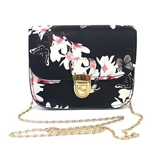 super1798 Women Floral Butterfly Print Crossbody Shoulder Chain Bag Purse Handbag