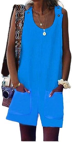HEFASDM Womens Slim Flare Washed Empire Waist Jean Faded Jumpsuits Romper
