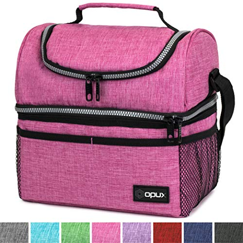 Thermal Insulated Dual Compartment Lunch Bag for Men, Women | Double Deck Reusable Lunch Box with Shoulder Strap, Leakproof Liner | Medium Lunch Box for School, Work, Office (Heather Pink)