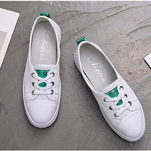 Punta Comfort Verde pelle piatto chiusa in nappa Sneakers White Bianco in da Scarpe donna Tacco ZHZNVX wITqPP