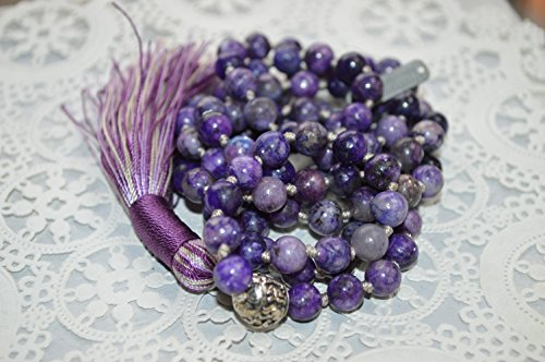 108 Genuine Knotted Lepidolite Mala Beads Necklace, Energized Lepidolite Mala, 8 mm Lepidolite Necklace, Purple and Green Mala by Awaken Your Kundalini - For Genuine Gemstone Hand Knotted Japa Mala Beads Necklace & Bracelets