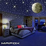 Glow in the Dark Stars with Moon for Ceiling or Wall Stickers - Glowing Wall Decals Stickers Room Decor Kit - Galaxy Glow Star Set and Solar System Decal for Kids Rooms Bedroom Decoration - Girls Boys