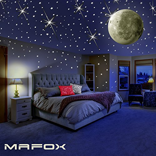 Wall Decor Kit (Glow in the Dark Stars with Moon for Ceiling or Wall Stickers - Glowing Wall Decals Stickers Room Decor Kit - Galaxy Glow Star Set and Solar System Decal for Kids Rooms Bedroom Decoration - Girls Boys)