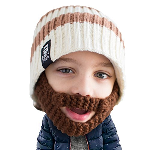 Beard Head Kid Scruggler Beard Beanie -Knit Hat and Fake Beard for Kids Toddlers Brown]()