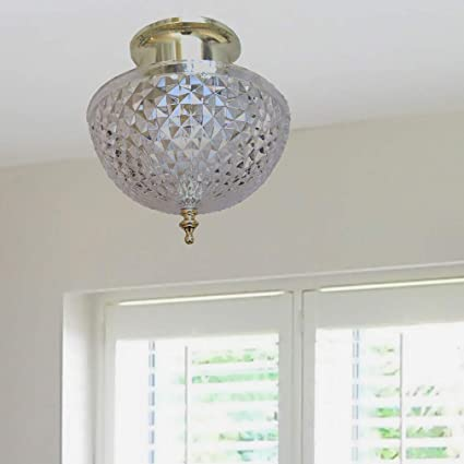 Evelots Ceiling Clip On Light Bulb Shade Lamp Dome Antique Diamond