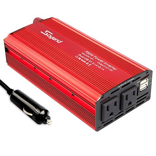 Car Power Inverter 700W Car Inverter DC 12V to 110V AC Converter Devel Car Charger Adapter 4.2A Dual USB Ports for Laptop, Smart Phone(Red_700W) by Soyond (Image #2)