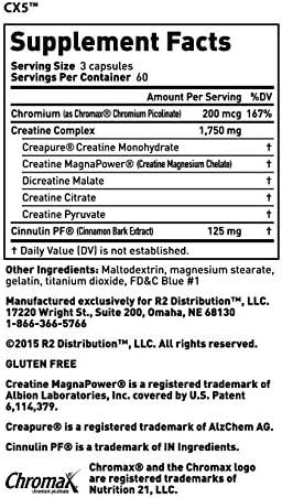 Complete Nutrition Elite Gold CX5 Creatine Complex Dietary Supplement, Endurance Support, Muscle Recovery, 180 Count Capsules