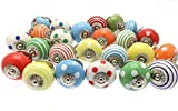 10 Bright Spots & Stripes Mixed Ceramic Cupboard Kitchen Drawer Knobs