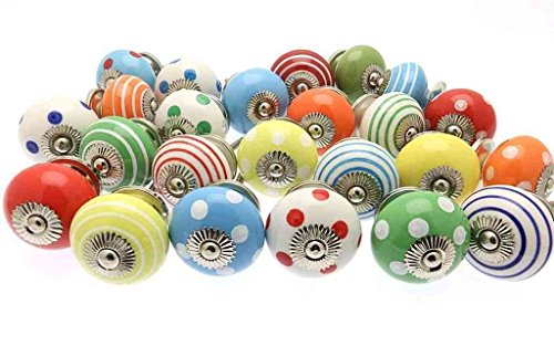- 10 Bright Spots & Stripes Mixed Ceramic Cupboard Kitchen Drawer Knobs