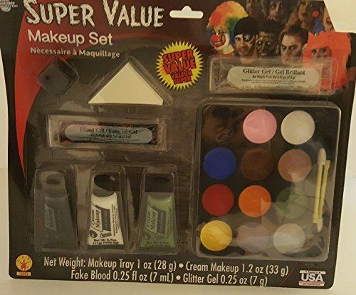 [Super Value Clown Make-Up Kit Washable Grease Makeup Glitter Gel Fake Blood] (Grease Makeup)