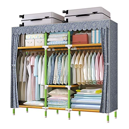 YOUUD 68 Inches Wardrobe Storage Closet Portable Closet Shelves, Closet Stroage Organizer with Non-Woven Fabric, Quick and Easy to Assemble, Extra Strong and Durable Grey