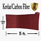 KEVLAR (Red 5 Ft x 1Mtr) CARBON FIBER FABRIC-TWILL WEAVE-3K/200g