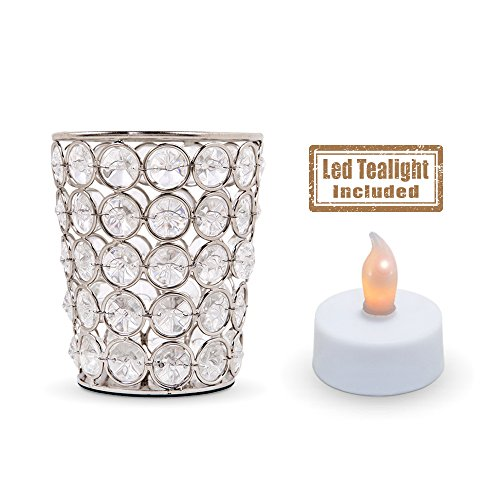 Crystal Look Elegant Tealight Votive - Silver Color Metal Candle Holder Cup (Flameless Battery Operated Tea Light Included)