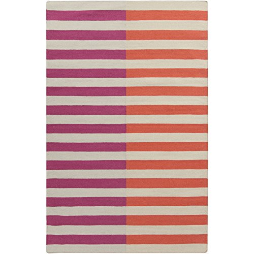 Surya FT565-811 Hand Woven Casual Area Rug, 8 by 11-Feet, Hot Pink/Coral/Light Gray ()