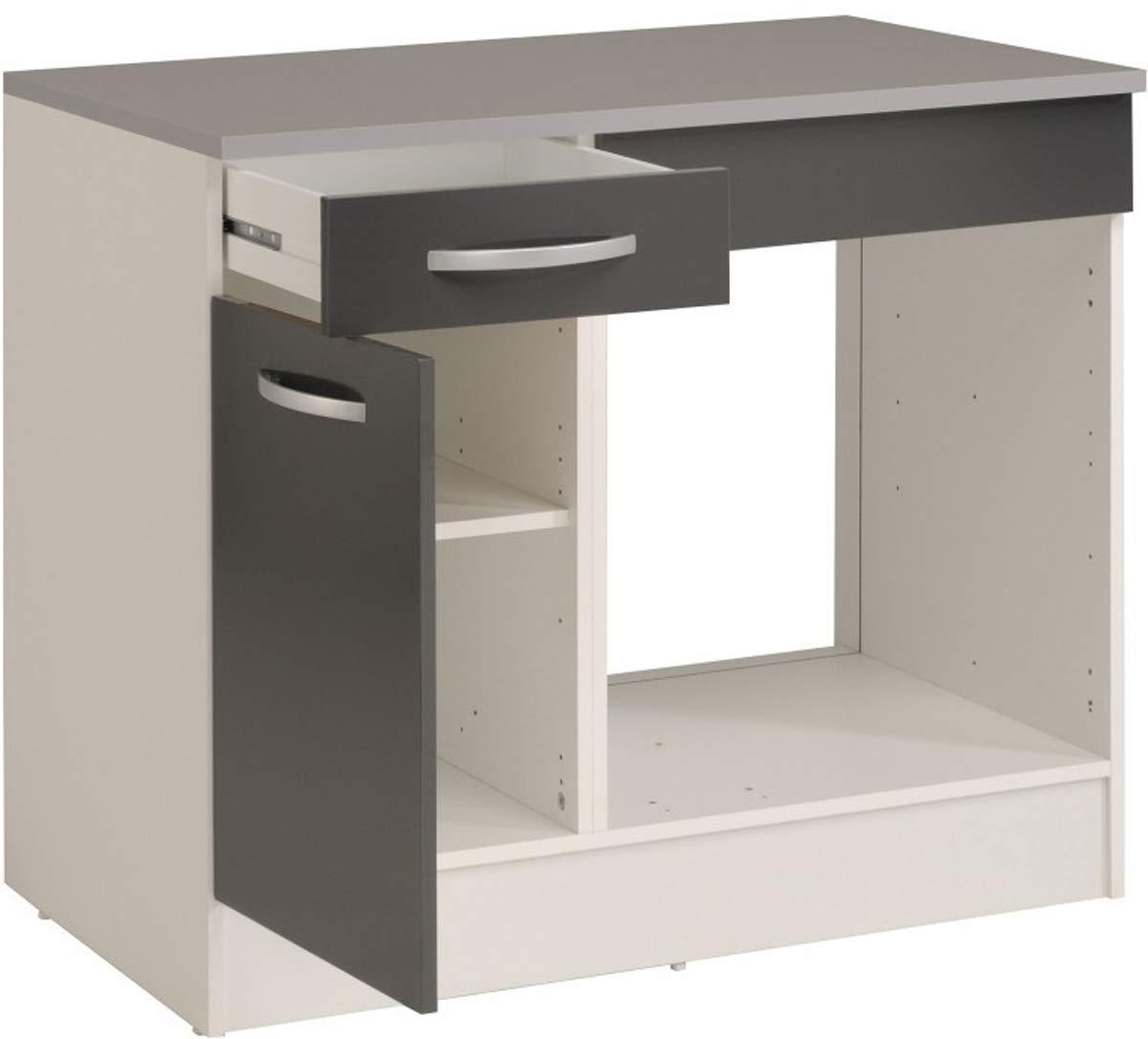 PEGANE - Mueble bajo de Cocina para Horno, Color Gris y Blanco ...