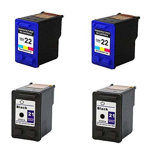 Remanufactured Ink Cartridge Replacement for 2 x HP 21 + 2 x HP 22 (2 Color 2 Blakc 4 Pack) ()