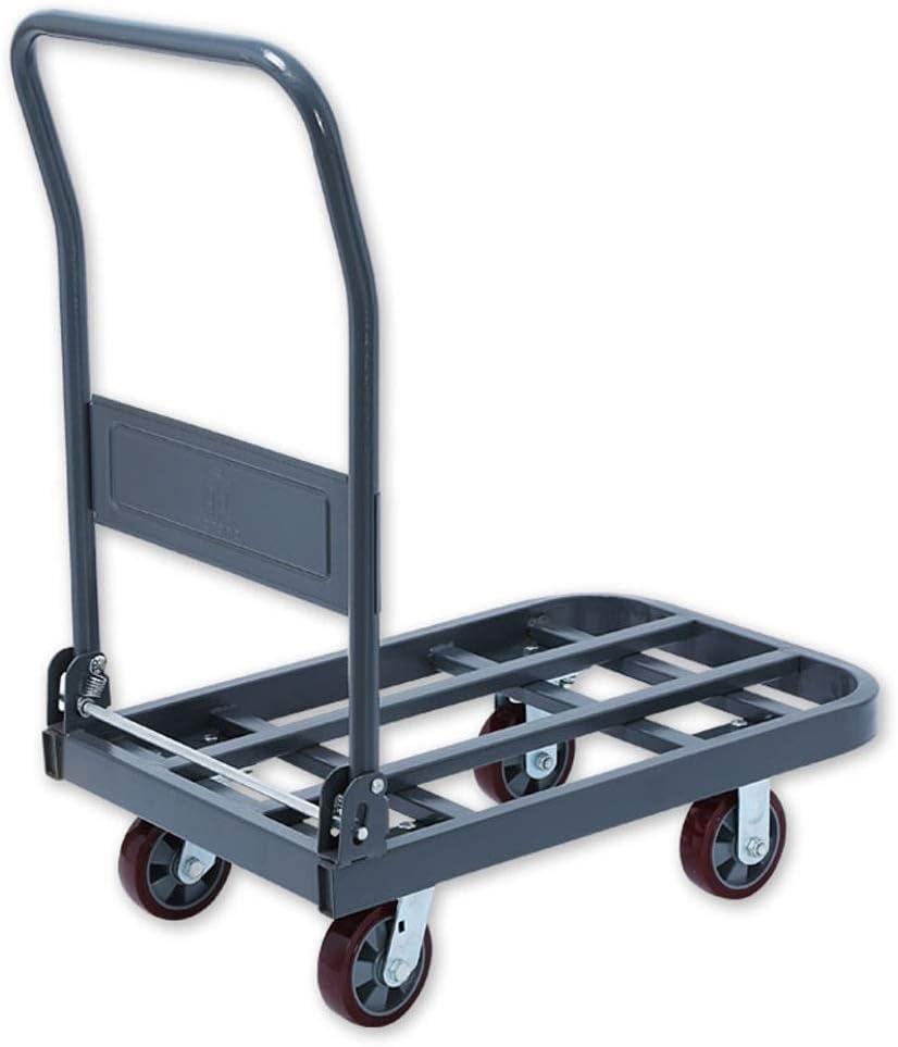 ゴム製足車が付いている折る倉庫の移動カートのプラットホームカートのトロリー、鋼鉄荷物のプッシュカート手トラックの頑丈な、容易な貯蔵のために折りたたみ式、灰色 (サイズ さいず : M m)