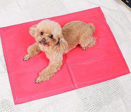 FDFERRT Dog Cat Ice Mat Bed, Give Pet A Cool Summer, Easy to Clean, Durable Comfortable Resistant Scratch and Bite pink Red M for Cat Dog