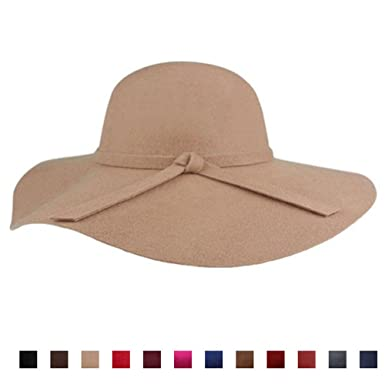 Classic Vintage Women Wool Wide Brim Hat Elegant Ladies Floppy Beach Sun Cap 4629f70cf7b9