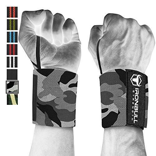 Wrist Wraps (18 Premium Quality) for Powerlifting, Bodybuilding, Weight Lifting - Wrist Support Braces for Weight Strength Training (Camo/White)