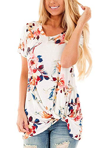 SHIBEVER Summer Soft Loose Casual Women's Tops Shirts Fashion Twist Knotted Blouses Short Sleeve Round Neck Tunic T Shirt Floral White M