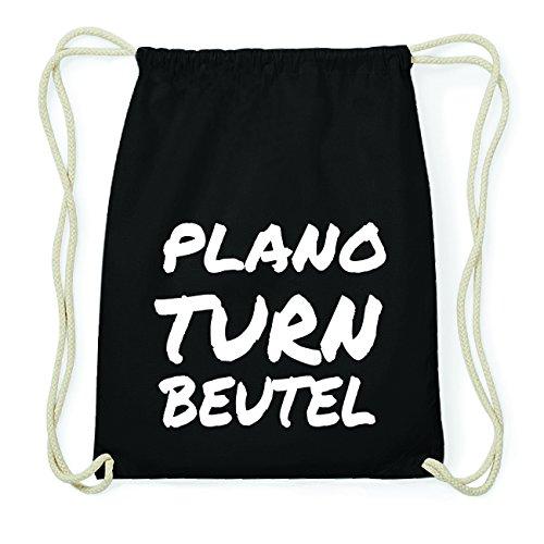 JOllify PLANO Hipster Turnbeutel Tasche Rucksack aus Baumwolle - Farbe: schwarz Design: Turnbeutel zOcu9JV