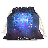 Constellation Zodiac Sign Aries Velvet Drawstring Gift Bag Wrap Present Pouches Favor for Jewelry, Coin, Holiday, Birthday, Party, 12X14 Inches