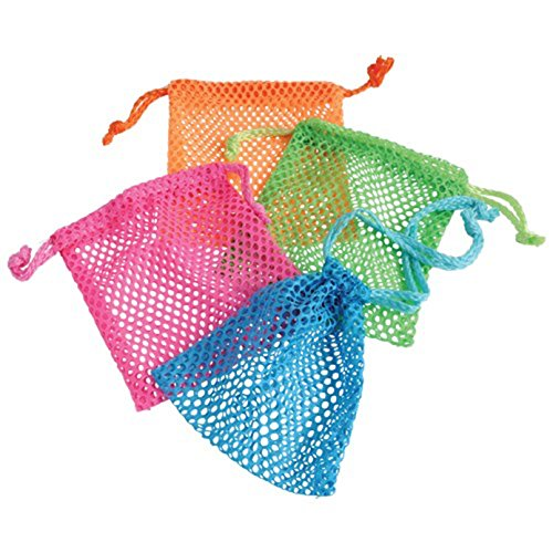 Lot Of 12 Assorted Neon Color Mini Mesh Drawstring (Colour Mesh)