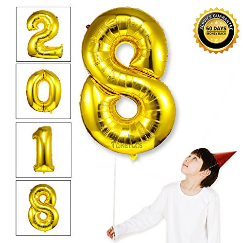 Gold Large Glossy (40 Inch Giant Gold 2018 Number Foil Balloons 2018 Graduation Decorations New Year Eve Festival Party Supplies,Glossy Gold,Number 8)