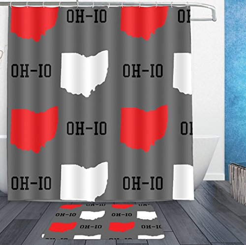 AMERICAN TANG Shower Curtains With Hooks and bath rug mat - New Oh-io State map Gray Bath Curtain Liner - Waterproof Polyester Fabric Bathroom Decor Set - 72x72/18x36 (Ohio State Bathroom Decor)