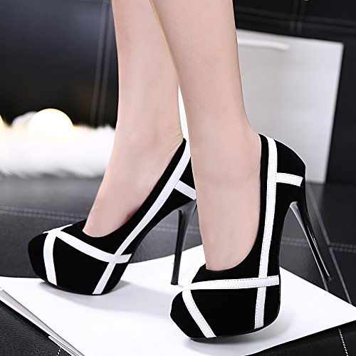HGTYU-Spring 13Cm Shallow Mouth Single Shoes Sexy Butt Ultra High With Round Head Shoe The Waterproof One Night With Fine Satin Women'S Shoes Occupational Shoes Black 4CwhanN