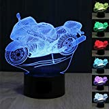 SUPERNIUDB Motorcycle 3D LED illusion Night Light 7 Color Switch Table Desk Lamp Gift For Sale