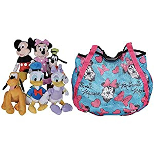 Disney 11″ Plush Mickey Minnie Mouse Donald Daisy Goofy Pluto 6-Pack (Blue Tote)