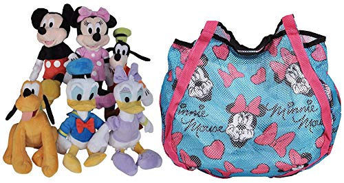 "Disney 11"" Plush Mickey Minnie Mouse Donald Daisy Goofy Pluto 6-Pack (Blue Tote)"