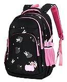 BAIJIAWEI Primary School Backpack Lightweight Book Bag for Boys Girls 5-12 Years Old Waterproof Nylon Travel Rucksack Black