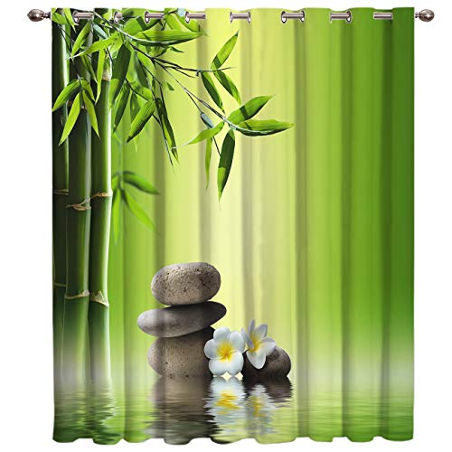 """Window Curtains for Bedroom Living Room Dining Grommet Top Window Treatment/Drapes,Zen Art Decor SPA Stone Green Bamboo Frangipani Pictures 52""""x45"""",One Panel"""
