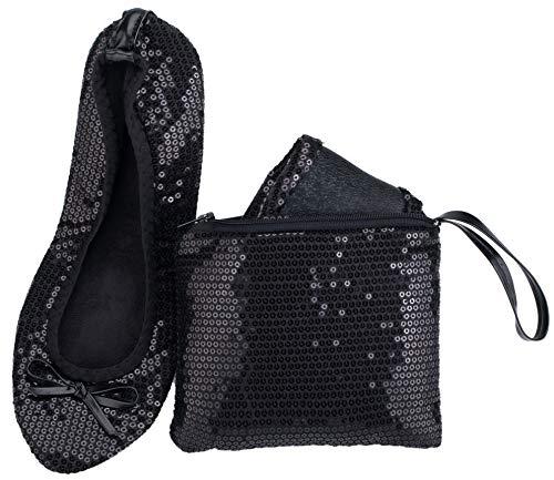 - Rolly Flats Portable Foldable Pumps Ballet Shoes (L, Black Sequin)