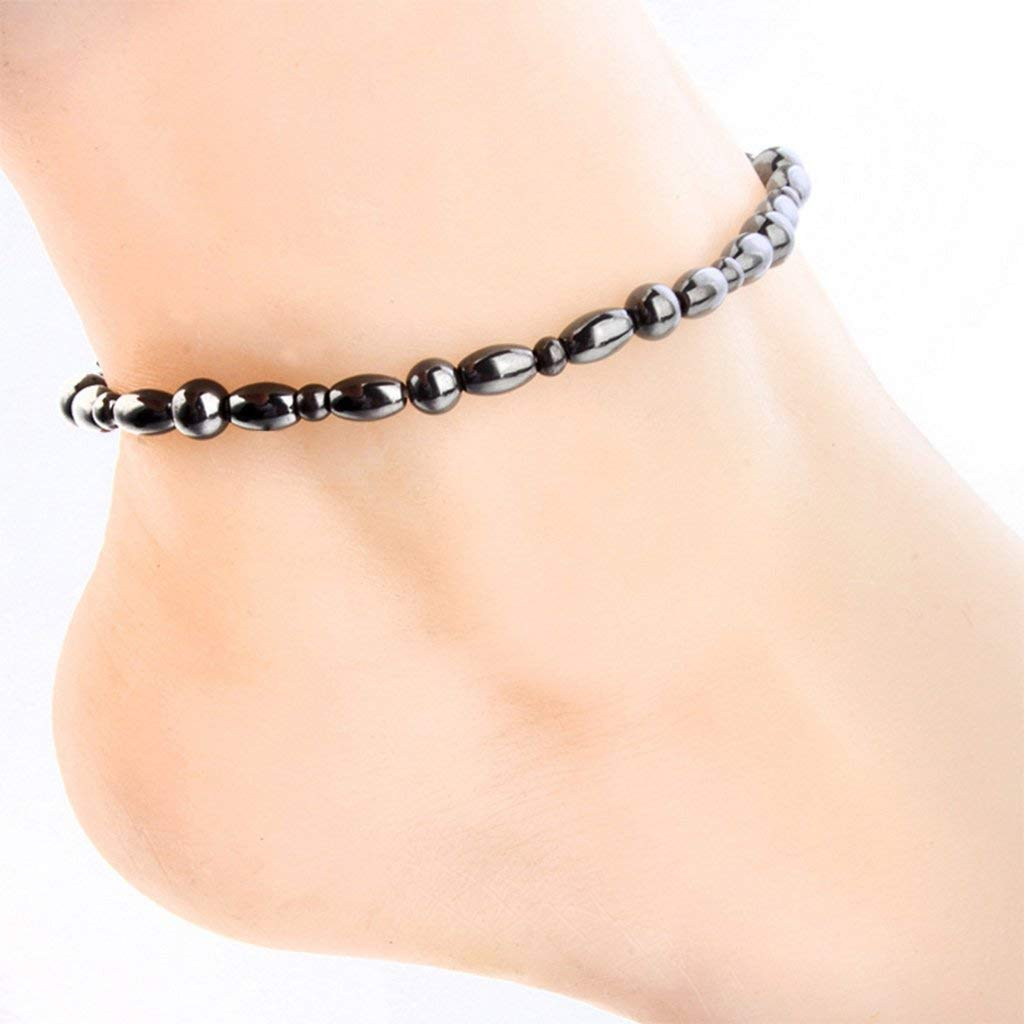 Women Men Magnetic Anklet Hematite Stone Ankle Bracelet, Health Care Black Therapy Jewelry (1PC) by Lottoy (Image #1)
