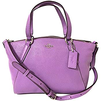 Coach F36675 Small Kelsey Satchel in Pebble Leather Dahlia  Handbags ... 44b48a87fc80d