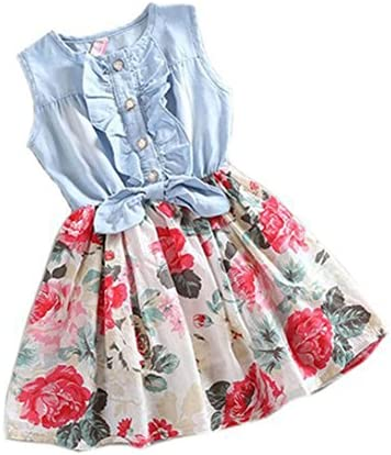 Vicbovo Clearance Sale!! Little Girl Dress, Floral Print Sleeveless Denim Dresses Summer Clothes for Kids Toddler Baby Girl
